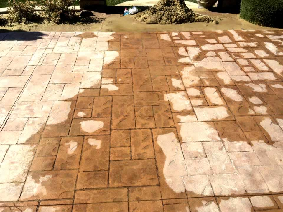 Stamped Concrete Cleaning and Stripping